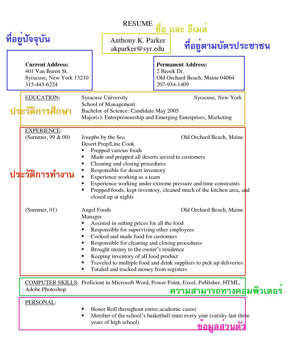 resume ภาษาอังกฤษ